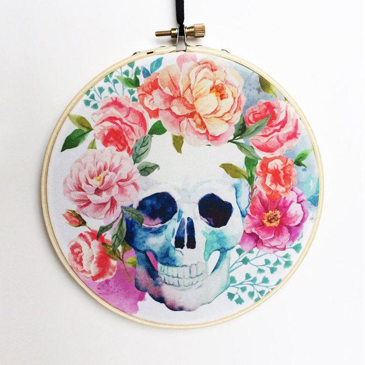 Watercolor Sugar Skull Hoop Art, Photo Hoop Art, Embroidery Hoop Art, Embroidery Hoop Decor, Hanging Wall Art, Canvas Hoop Decor by RegalosOnline on Etsy