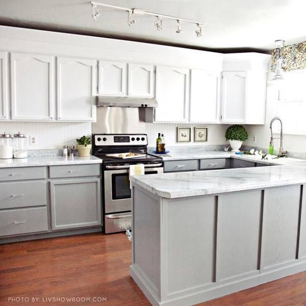 I Like The Gray Lower Cabinets And White Upper Giani White