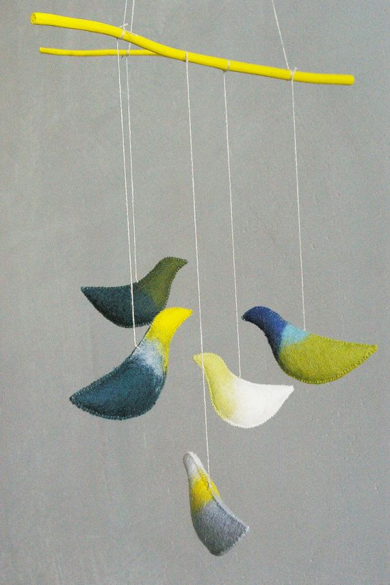 Baby crib mobile - nursery mobile - Birds mobile