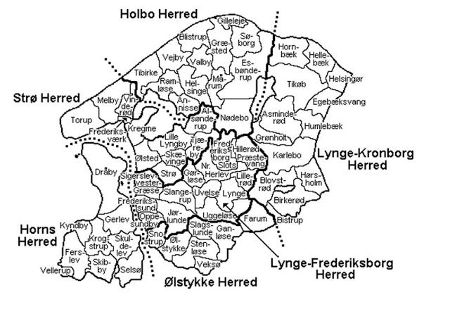 """Map of County of Frederiksborg-  Helsingor on far east coast.  Dreyers were """"master painters"""" in the kings palace.  Master Painter being a tradesmans position, not artistic painters."""