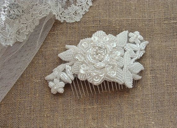 Beaded Bridal Lace Hair Comb with Pearls Ivory by DesignedByTanne