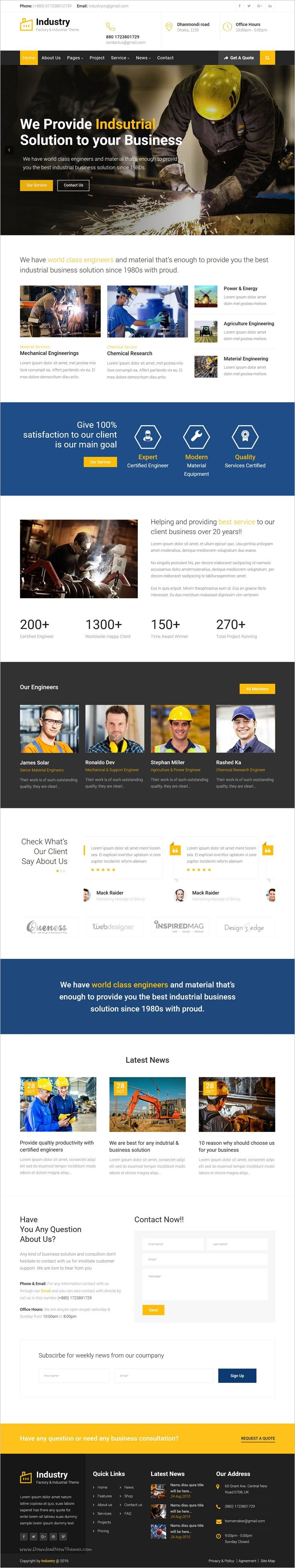 Industry is a wonderful #bootstrap #HTML template for🏭 Industrial, mechanical, #engineering, chemical industry, construction company, steel factory, Electrician, Plumbing industry and similar websites download now➩  https://themeforest.net/item/industry-factory-industrial-business-template/18923314?ref=Datasata