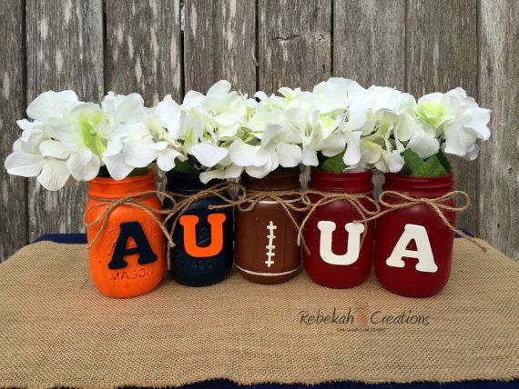 Alabama and Auburn House Divided Mason Jars, Roll Tide, War Eagle, House Divided, Crimson Tide, Alabama, Iron Bowl, SEC football, Roll Eagle