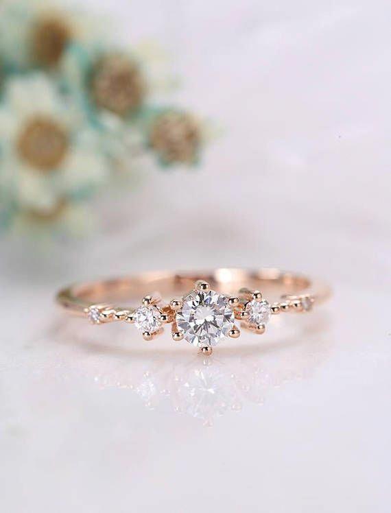 Einzigartiger Diamant-Verlobungsring aus Roségold Vintage Diamant-Diamanten