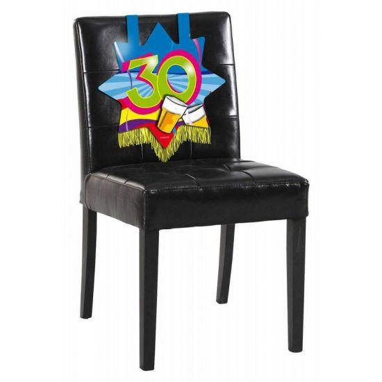 Stoeldecoratie 30 jaar. Mooie verjaardags decoratie voor op de stoel voor iemand die 30 jaar geworden is! De versiering is ongeveer 34 x 36.5 cm groot.