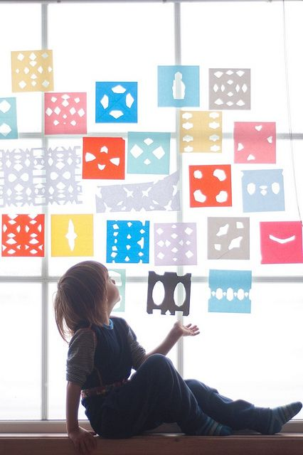 #DIY paper cut-outs on windows. #designeveryday