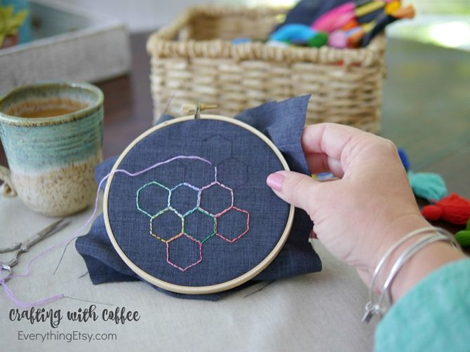 Crafting with Coffee - Folgers Simply Gourmet - EverythingEtsy.com @Walmart @Folgers #crafts #diy #embroidery