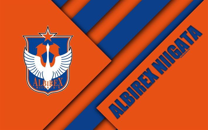 Download wallpapers Albirex Niigata, 4k, material design, Japanese football club, orange blue abstraction, logo, Niigata, Japan, J1 League, Japan Professional Football League, J-League