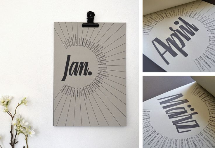 Wandkalender - Wandkalender 2018 / Kalender  DinA4 / grau / - ein Designerstück von skalle-design bei DaWanda