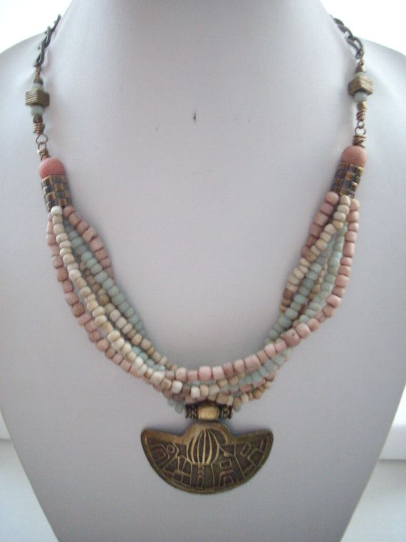 Multi Strand Necklace with Rustic Pink Mint by DesignsbyPattiLynn