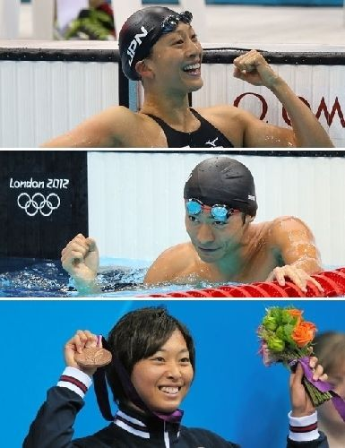 競泳日本勢メダル量産 寺川・入江・鈴木が銅 写真:(上)女子100メートル背泳ぎで銅メダルを獲得した寺川綾、(中)男子100メートル背泳ぎで銅メダルを獲得した入江陵介、(下)女子100メートル平泳ぎで獲得した銅メダルを手に笑顔を見せる鈴木聡美=いずれも樫山晃生撮影