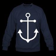 Long Sleeve Shirts ~ Men's Crewneck Sweatshirt ~ Nautical Sailor Anchor Sweatshirt