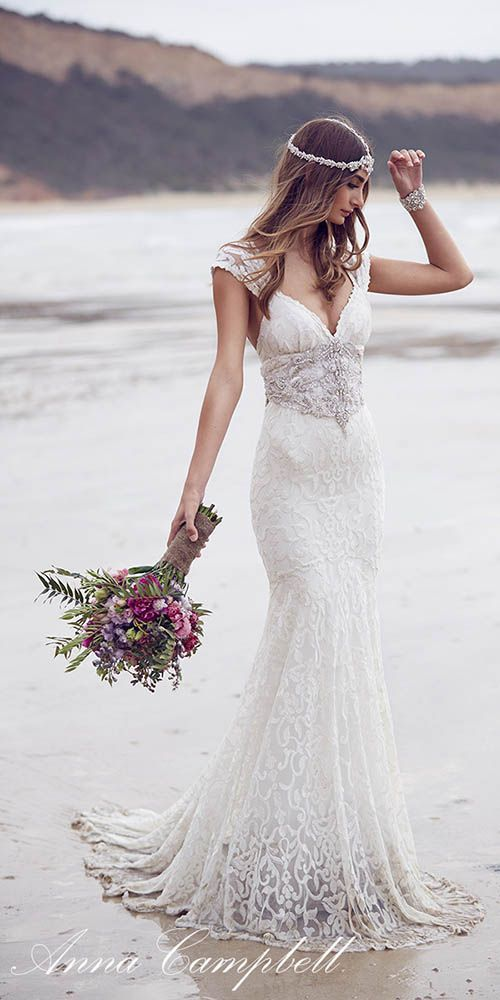 Wedding dress by Anna Campbell. We love this breathtaking bridal gown ❤️. Visit http://WeddingForward.com for more wedding dresses & wedding dress shopping advice. #weddingdresses #AnnaCampbell #vintagebridalgown