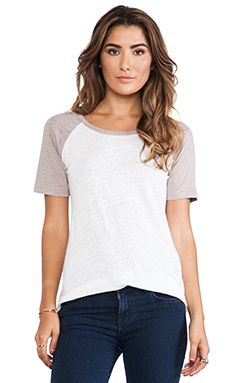 Monrow Colorblock Baseball Tee In White & Air WAS $118.63 NOW $83.93 http://www.richgurl.com/linkout/2080580