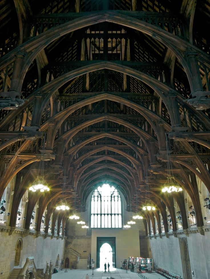 The Angel Roof at Westminster Hall (looking East): Built by Hugh Herland for Richard II mainly between 1395-8, this is the earliest known angel roof, and a masterpiece of medieval timber engineering. Photograph © The Houses of Parliament 2012. Photographer: Michael Rimmer.