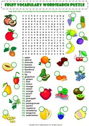 food fruit vocabulary wordsearch puzzle worksheet icon