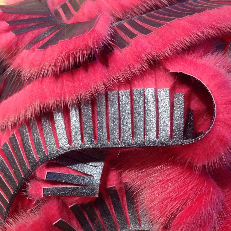 Hot pink mink fringe at the Design Centre.
