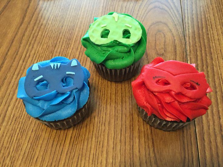 PJ Masks Birthday Cupcakes  Coordinating with PJ Masks birthday cake.