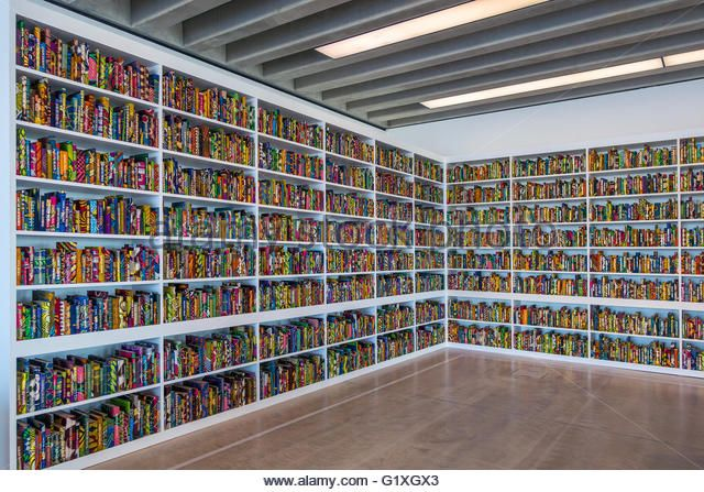 The British Library by Yinka Shonibare MBE Thousands of books covered in batik Dutch fabric with names of notable British people