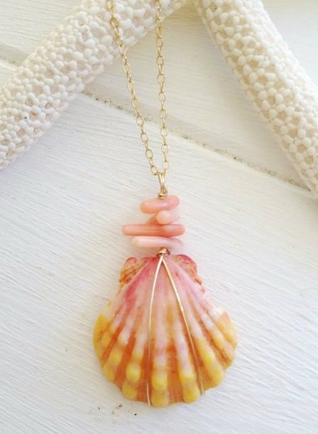 Beach Wahine - Designer Hawaiian Clothing, Jewelry, Swimwear and Accessories - Coral Sunrise Shell necklace, $125.00 (http://www.beachwahine.com/whats-new/coral-sunrise-shell-necklace/)