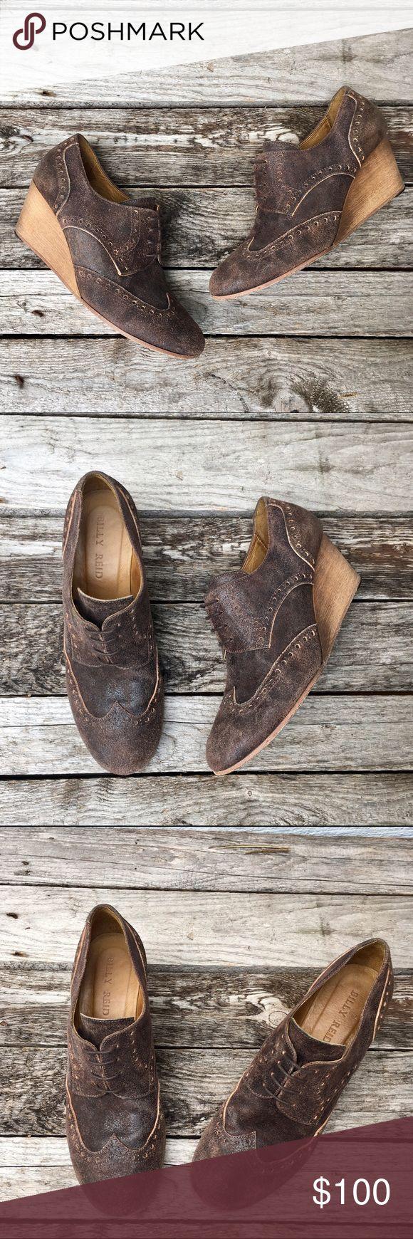 Billy Reid 'Evelyn' Brown Wedge Oxford Shoes Gentle wear, good shape. Billy Reid Shoes Wedges