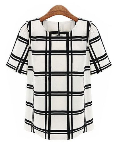 - Item Type: High Quality Women's Grid Blouse Material: Polyester Fabric Type:Chiffon Sleeve Length:Short - Decoration: Grid Pattern Type: Plaid Collar: O-Neck Shipping: FREE - Worldwide!