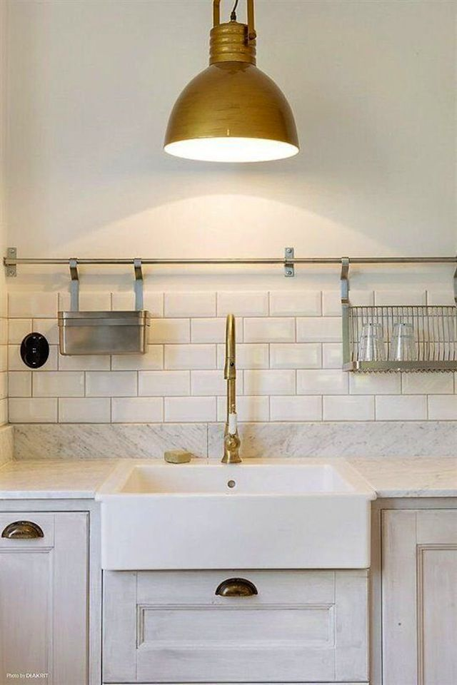 Brass Fixtures, Farmhouse Sink, Subway Tiles, Marble Countertopsu2026would Be A  Lux Laundry Room