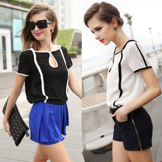 Повседневная Женщины шифон Блузка Контрастность Цвет коротким рукавом футболки топы белый