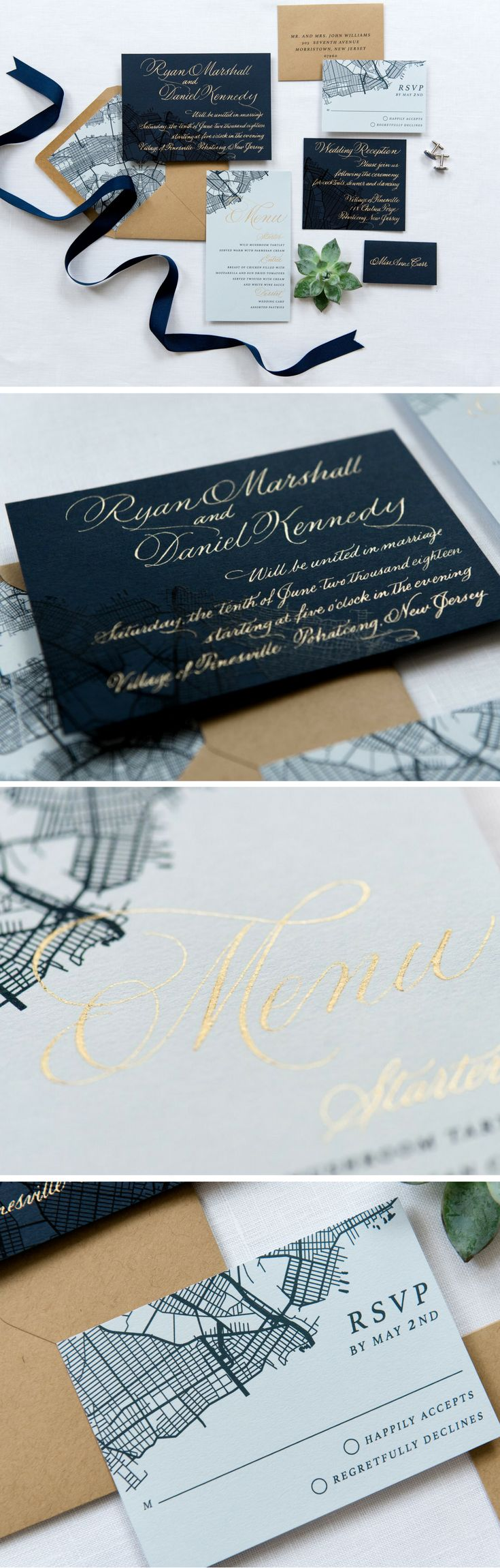 A custom gold hand calligraphy wedding invitation with map details.