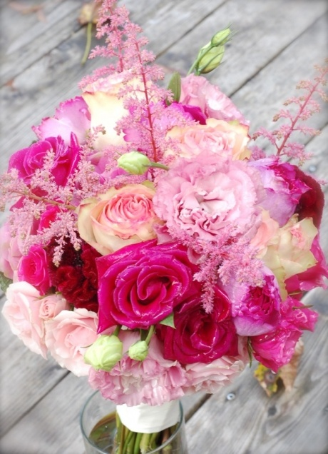 lush pink roses, lisianthus & astilbe with coxcomb bridal bouquet