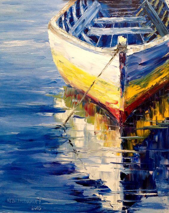 Boat Oil Painting Seascape Ocean Painting by VladimirNezdiymynoga