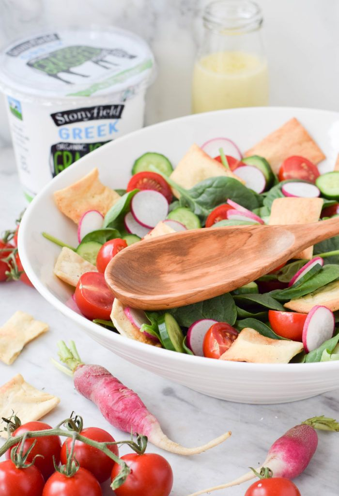 My fattoush-inspired salad with creamy yogurt tahini dressing for hot weather days!