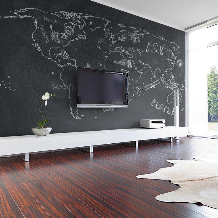 Papier peint moderne carte du monde en noir et blanc pour une déco murale ultra tendance !