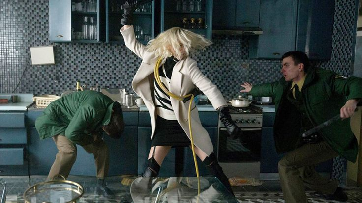 """Toward the end of""""Atomic Blonde,"""" David Leitch's hyperviolent, hyperstylized action pic set in Berlin just before the fall of the wall, Charlize Theron's MI6 superwoman Lorraine Broughton is taske…"""