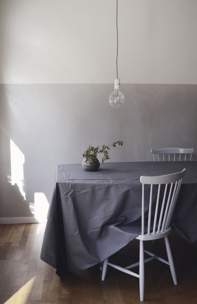Walls in kitchen painted with chalk paint Kalklitir
