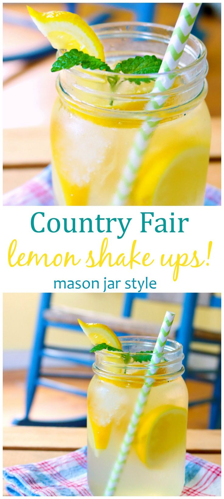 Love that fair lemonade?  Bring it home with you!  Our easy mason jar lemon shake up recipe will quench your summer thirst!  <3