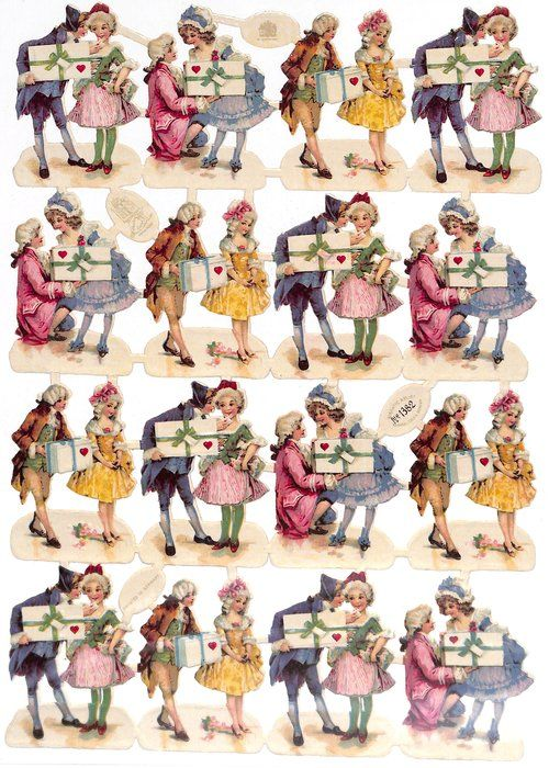 romantic couples, man presents valentine to woman GIGANTIC RELIEF scraps numbered 1000-1499 romantic couples, man presents valentine to woman PRINTED IN GERMANY Number:1382 Size:6 x 9 cm each image