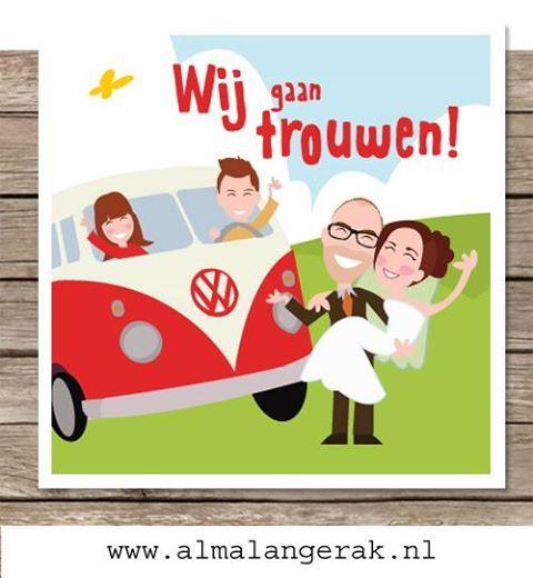 #custom #illustrated #wedding #invite #cartoon #maatwerk #trouwkaarten #volkswagen #busje #van #t1 #kinderen