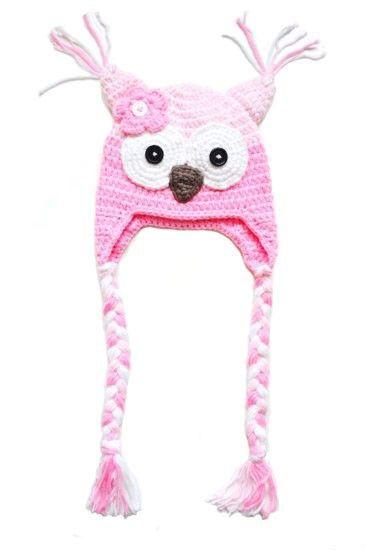 Hekla rosa ugle lue til baby og barn.   crochet hat for kids