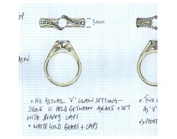 unique offset princess engagement ring drawing