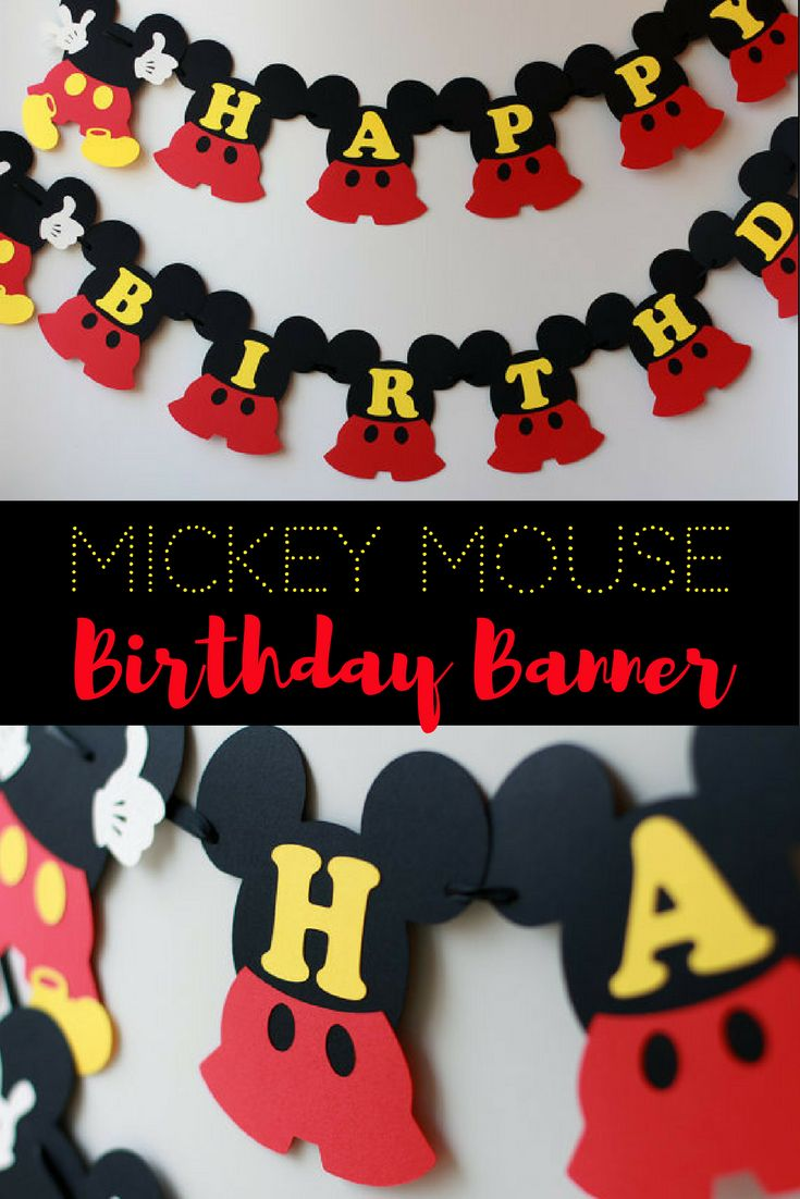 Beautiful Mickey Mouse birthday party banner! I love it ! Mickey birthday decorations Mickey Mouse birthday banner 1st birthday Mickey Mouse party decorations - inspired Disney Clubhouse birthday #disney #mickey #birthdayparty #affiliate