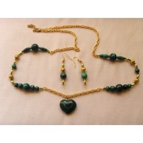 Malachite heart necklace, 79cm