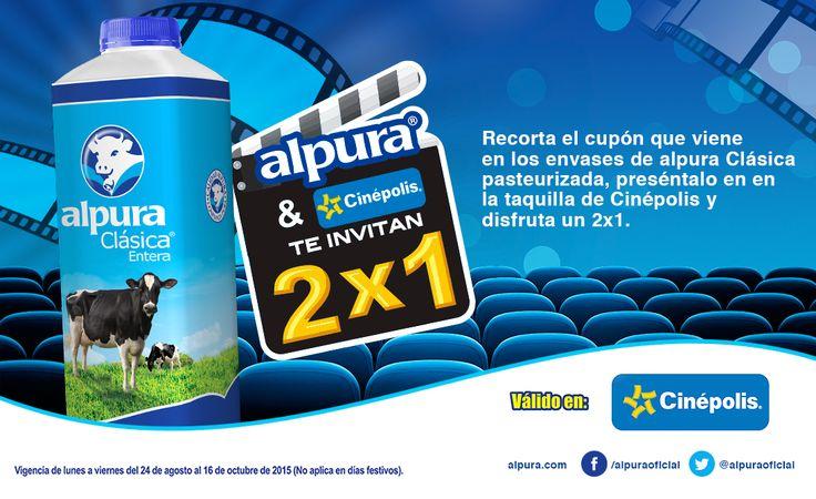 """No esperes el famoso """"miércoles 2x1 en el cine"""". Ahora nuestra leche clásica y Cinépolis te regalan un cupón 2x1 para que invites a quien quieras, el día que quieras.  Sólo recorta el cupón y disfruta de funciones en 2D y 3D.  #AlpuraMeGusta  Válido en toda la República Mexicana. Vigencia del 24 de agosto al 16 de Octubre. No aplica en funciones en formatos IMAX, Cinépolis VIP, 4DX, Sala Junios y Cinépolis PLUUS."""
