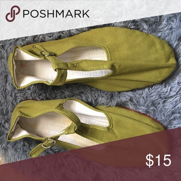 Mary Jane's Olive green Mary Jane's Shoes Flats & Loafers