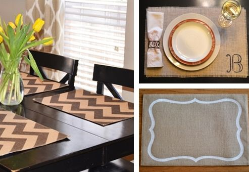 Loving these burlap placemat designs. REALLY loving the clearance price, too!