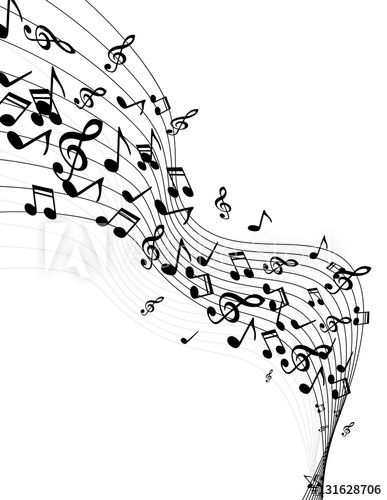 easy to edit vector illustration of wavy music notes
