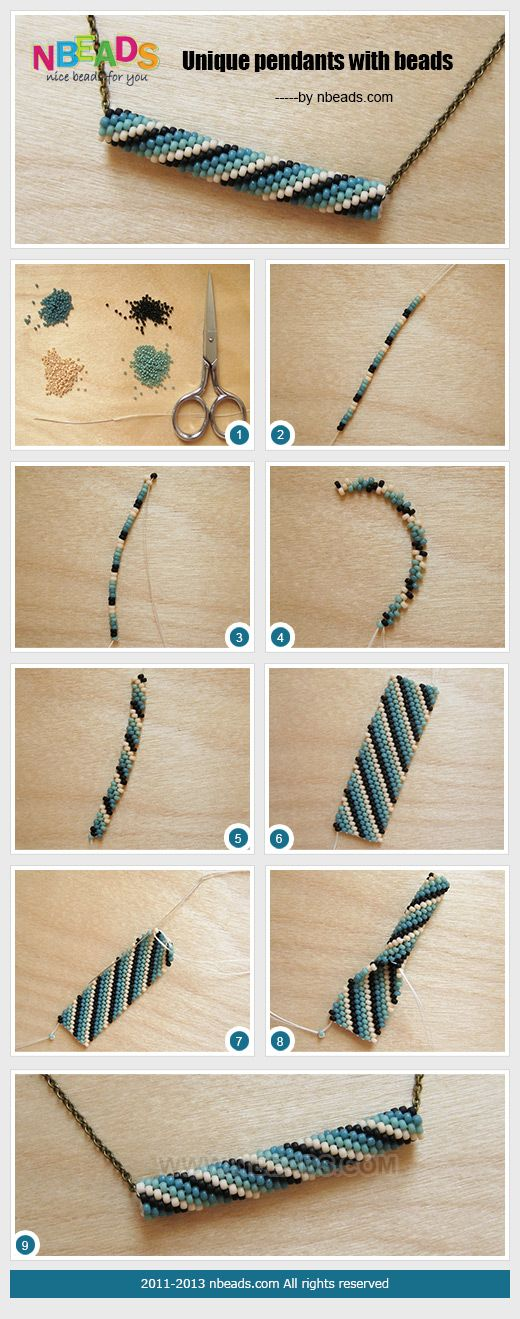 "Make this 8 or 9 inches long, sew into a circle, then ""zip"" for a bracelet. Best if only 5 beads wide."