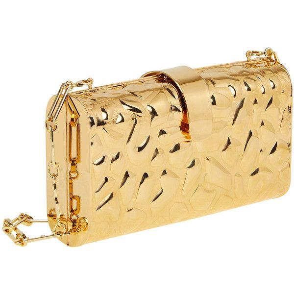 Edie Parker Rebekah Metal Giraffe-Pattern Clutch Bag ($1,295) ❤ liked on Polyvore featuring bags, handbags, clutches, edie parker, beige clutches, edie parker handbags, beige purse and giraffe print purse