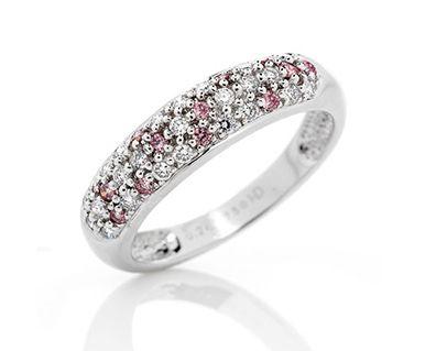 18k white gold white and pink diamond pave ring | Holloway Diamonds