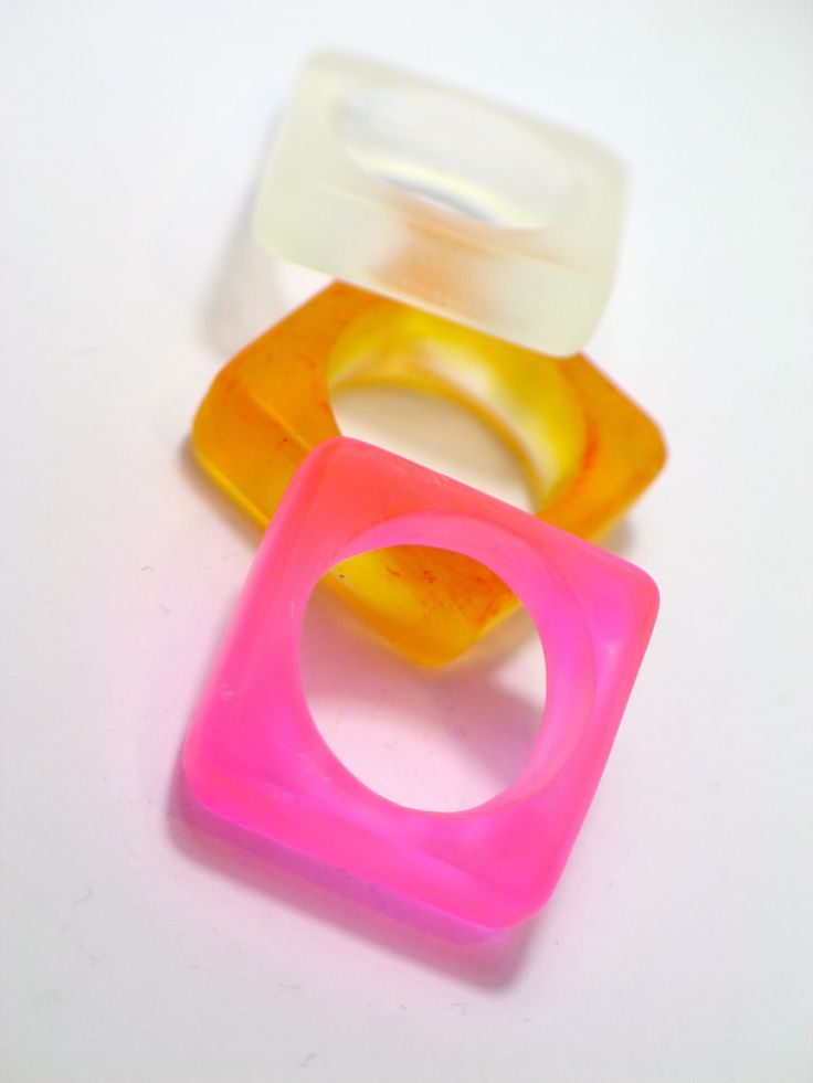 Resin ring. Pink, orange and clear ring. Modern jewelry. Cocktail ring. Chunky resin. resin jewelry. neon ring, contemporary. $22.00, via Etsy.